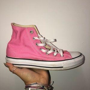 Pink high top converse